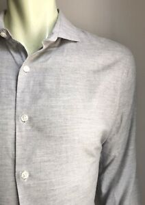 Bonobos Shirt, Cloudy Gray, Brushed Cotton, Large, Tailored Slim Fit, Exc Cond