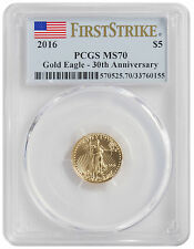 2016 - $5 1/10oz Gold American Eagle MS70 PCGS First Strike Flag Label