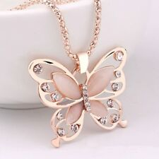 Rose Gold Butterfly Charm Pendant Long Chain Necklace Jewelry Fashion Women