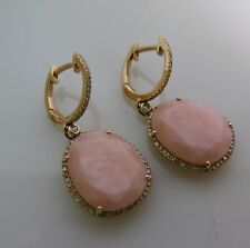 Brand New 14K Rose Gold Fashion Earrings With Pink Opal And Diamonds, On Loop