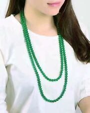Women's Fashion 8mm Natural Green Jade Round Gemstone Beads Necklace 48'' Y22336
