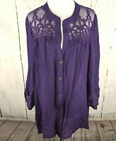 MAURICES Lace Crepe Woven Blouse Plus 2 Popover 3/4 Sleeve Top V Neck Shirt