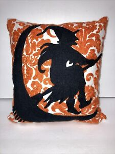 """Halloween Decorative Embroidered Throw Pillow Witch on Broom, Moon 12"""" x 12"""""""