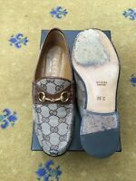 Gucci Womens Shoes Brown Monogram Canvas Horsebit Loafers UK 3 US 5 EU 36 Ladies