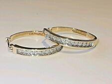 DIAMOND 9ct 375 GOLD HOOP EARRINGS channel set round brilliant cut gemstones