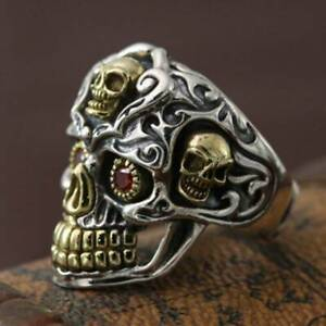 Retro Gold Silver Punk Skull Head Ring Mens Jewelry Hip Hop Ring Party Ring 7-12