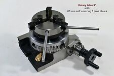 """Rotary Table Horizontal & Vertical 3""""/75mm w/65mm Lathe Chuck with Back Plate"""