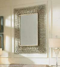 "Contemporary 56"" SILVER Frayed Shredded Metal Wall Mirror Modern Extra Large"