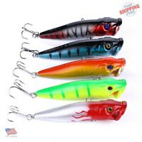 Lot of 5PCS Topwater Popper  Freshwater Fishing Lures Bass Crankbait Tackle