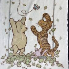 Classic Winnie The Pooh Baby Blanket 35x50 Tigger Piglet Leaves Velour Beige