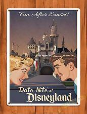 """TIN-UPS Tin Sign """"Date Night At Disneyland"""" Vintage Walt Disney Ride Art Poster"""