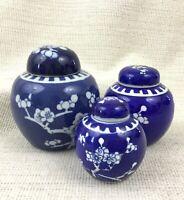 Chinois Porcelaine Gingembre Pots Set 3 Main Peint Prunus Bleu et Blanc Chine