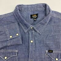 Lee Button Up Shirt Men's Size 2XL Long Sleeve Blue Denim Cotton Chest Pocket