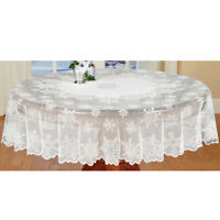 White Snowflake Tablecloth Round Lace Table Cover Christmas Wedding Party 178cm