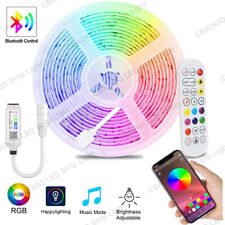 16.4 ft 5050 RGB LED Strip Lights Bluetooth Music Backlight APP/IR Remote+Power
