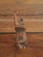 Vintage Carved Wood Tree Trunk Mountain Climbers Figurine Great Details