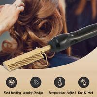 80W Femme Électrique Fer à Lisser Beauté Peigne de Pour Cheveux Humides et