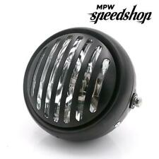 """Cafe Racer Scrambler Harley Motorcycle Prison Grill Headlight 5.75"""" Chrome/Clear"""