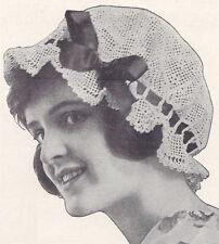 Vintage Crochet PATTERN Mop Cap Boudoir Bonnet Hat