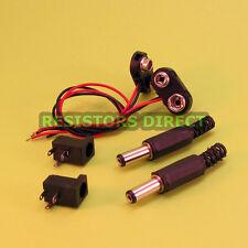 2 DIY Kits 9V Battery Clip to 2.1mm x 5.5mm Plug & Sockets Arduino Power
