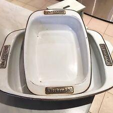2x KitchenAid Enamel on Steel Open Roaster Roasting Baking Tray Dish Kitchen Aid