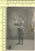 060 1900's Girl Musician w Tambourine in Costume Portrait vintage photo original