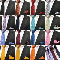 DESIGNER PAISLEY SOLID STANDARD TIE & MATCHING POCKET SQUARE HANKY WEDDING SETS