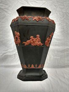 Antique Large 30cm Jasperware Black Basalt Putti Greek Roman C18th Vase 2.5 Kilo