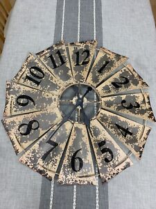 Shabby Chic Windmill Wall Clock Delightful 83cm  - Brown. Not working.