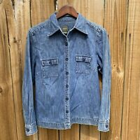 Vintage EDDIE BAUER Denim Shirt Button Front Women's Sz S Long Sleeve