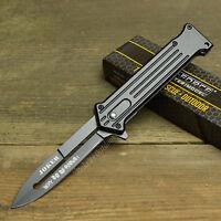 "Joker 8"" Spring Assisted Open Blade Stiletto Folding Pocket Knife Batman Black"