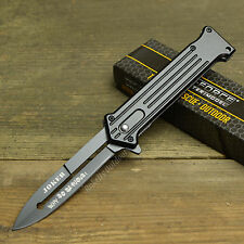 "Joker 8"" Spring Assisted Open Blade Stiletto Folding Pocket Knife Batman Black"