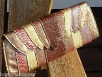 Chinese Laundry Multi Snake Clutch Stripes Magnetic Metallic Brown Gold Red New