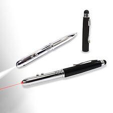 Shiny chrome 4-in-1(class III) Laser Pointer LED light Stylus Pen Black Cap