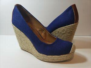 Nine West Blue Canvas Straw Platform Wedge Shoes - Size 7M