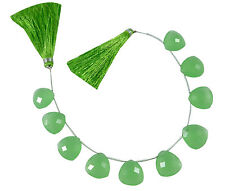 Prehnite Quartz Handmade Triangle Shape Briolette Beads 14x14 mm 10 Piece