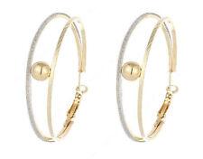 "Double Hoop & Ball Earrings 2"" Hoops Jewelry Fashion Dangle Drop Stylish"