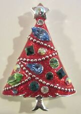 Vintage signed EISENBERG ICE Red Enamel & Rhinestone CHRISTMAS Tree BROOCH PIN