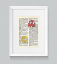 Pacman Ghost VINTAGE Dizionario Libro Stampa Wall Art