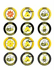 BUMBLE BEE Edible Cupcake Topper Image Frosting Sheet Cookie Stickers Custom!