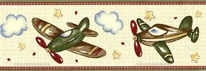 Vintage Airplanes Flight Aviation Plane Star Cloud Kids Room Wallpaper Border