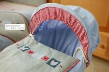 Reborn Lollipop Lane Hugs & Kisses Moses Basket Bedding Set Cover, Hood & Quilt