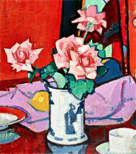 Pink Roses Chinese Vase by Samuel John Peploe A1+ High Quality Canvas Print