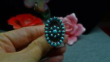 Santa Fe Style Kingman Turquoise Ring 925 SS Size 6 TGW 2.25 cts.