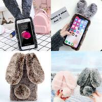 For iPhone X XR 6 7 8Plus Fashion Bunny Rabbit Fluffy Case Plush Cute Phone Case