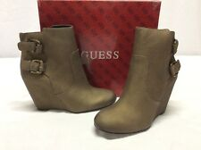 Guess ULFRED Women's Leather Wedge Booties, Bronze, Size 8.5 M