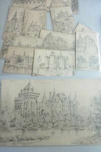 Wallonien: 11 Drawings, Locks Um 1900/11 Drawings to The Crayon De Châteaux