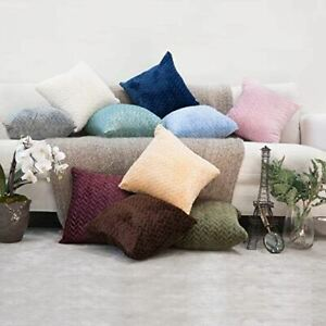 kindred home Pack of 2, Square Decorative Throw Pillow Covers Soft Flannel Herri