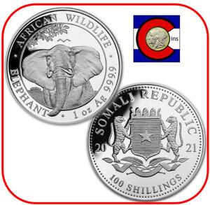 2021 Somalia (Somali Republic) Elephant 1 oz Silver Coin in capsule