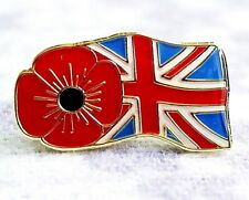 POPPY LAPEL BADGE WITH BRITISH FLAG Remembrance Poppy Day, HELP FOR HEROES 2018